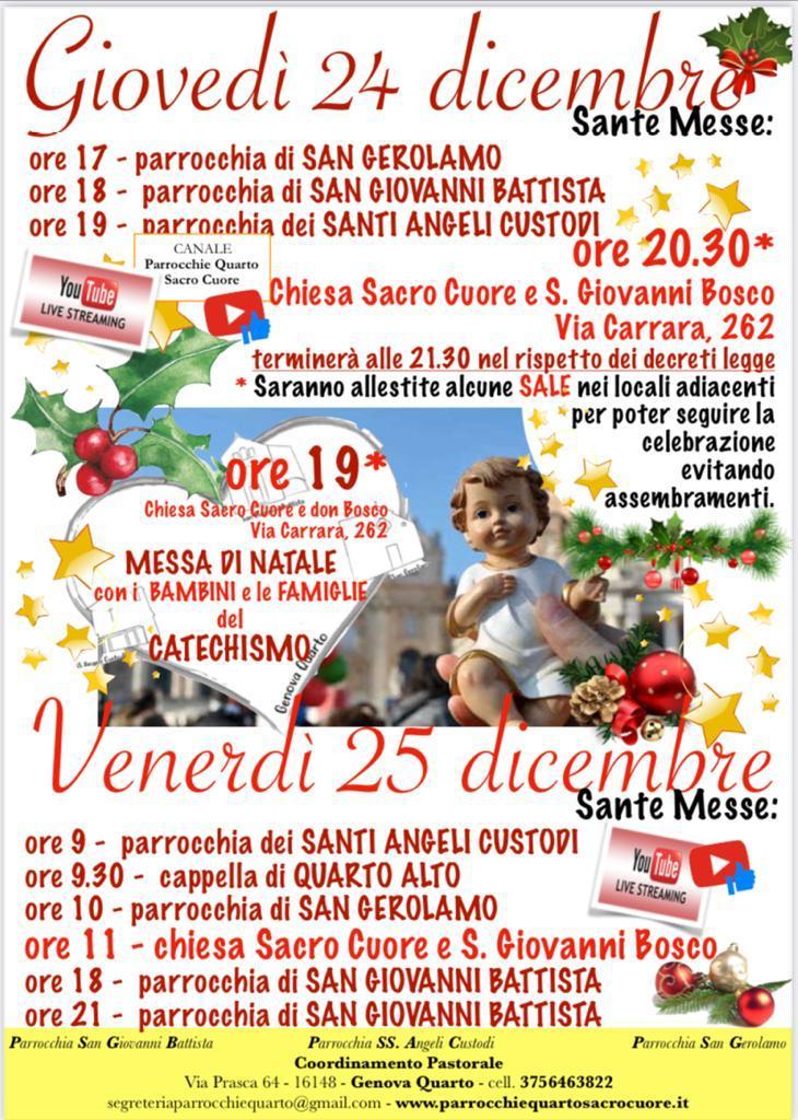 Orari Sante Messe NATALE 2020
