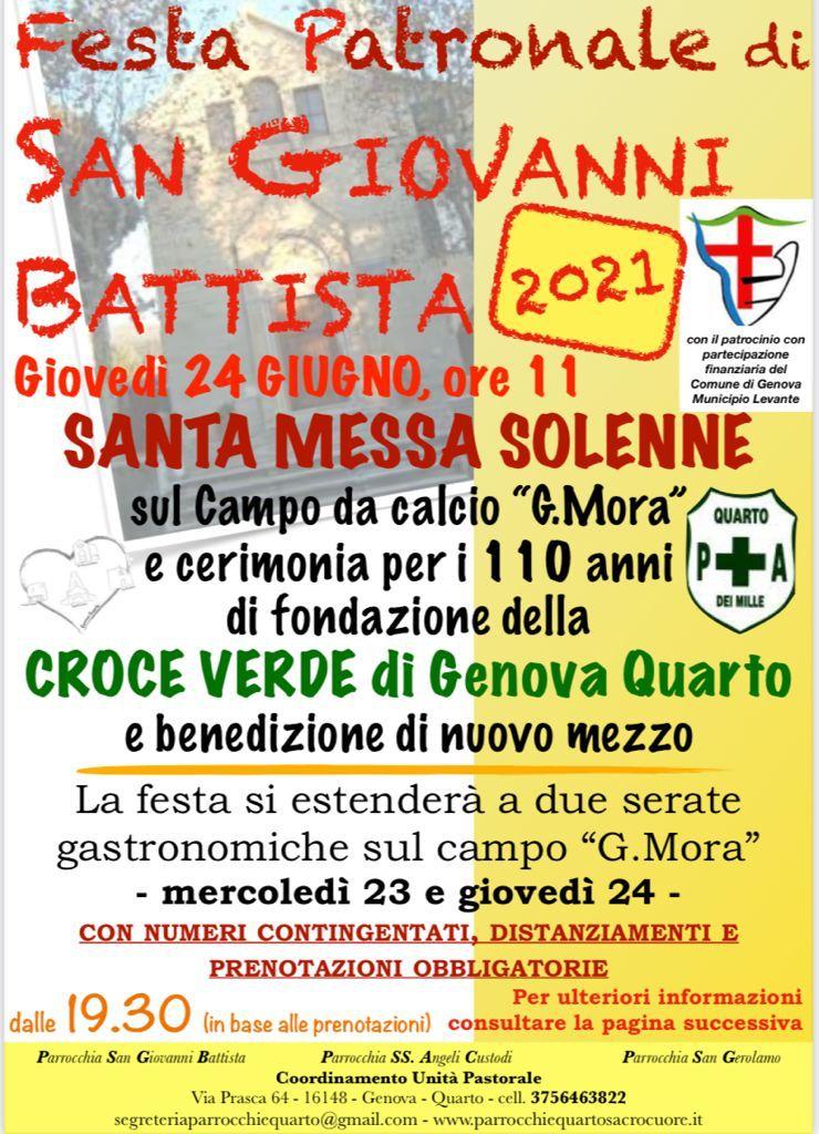 Festa San Giovanni Battista 2021 – PRENOTAZIONI CENE